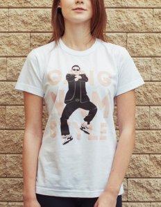 Dámské tričko s potiskem – Gangnam Style – černé