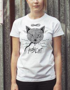 Dámské tričko s potiskem – Holy cat