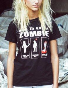 Dámské tričko s potiskem – How to kill a zombie
