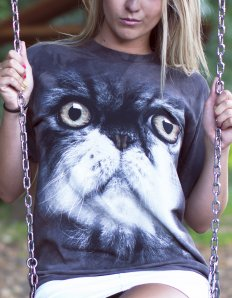 Dámské tričko se zvířecím potiskem (the mountain) Furry cat
