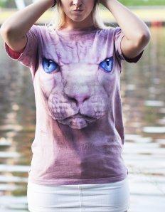 Dámské tričko se zvířecím potiskem (the mountain) Hairless cat