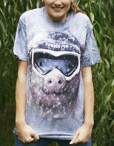 Dámské tričko se zvířecím potiskem (the mountain) Powder Pig