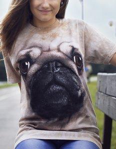Dámské tričko se zvířecím potiskem (the mountain) Pug