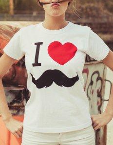 Dámské tričko s potiskem – I love moustache