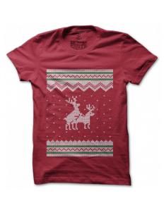 Dámské tričko s potiskem – Reindeers gone wild – červené