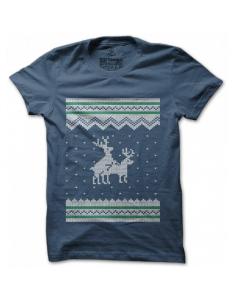 Dámské tričko s potiskem – Reindeers gone wild – modré