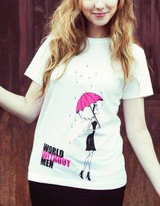 Dámské tričko s potiskem – World without men