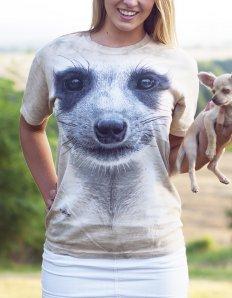 Dámské tričko se zvířecím potiskem (the mountain) Meerkat