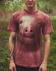 Dámské tričko se zvířecím potiskem (the mountain) Pig