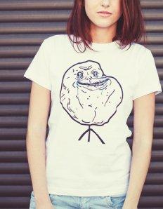 Dámské tričko s potiskem MEME - Forever alone