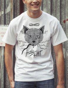 Pánská trička s potiskem – Holy cat