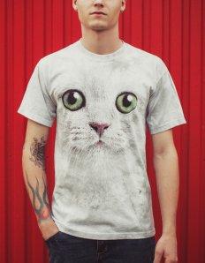 Pánské tričko se zvířecím potiskem (the mountain) Green Eyes Cat