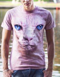 Pánské tričko se zvířecím potiskem (the mountain) Hairless cat