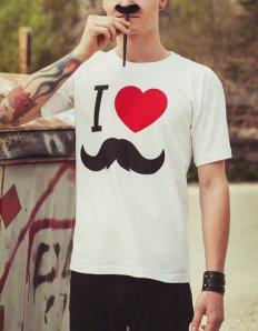 Pánské tričko s potiskem – I love moustache