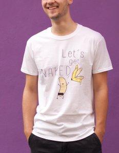 Pánské tričko s potiskem – Let's Get Naked