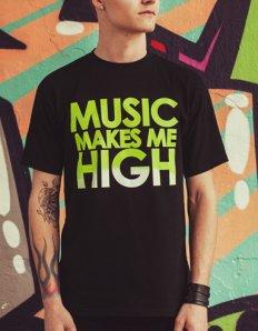 Pánské tričko s potiskem – Music makes me high