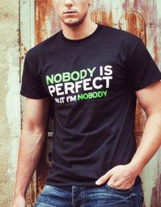 0d988c364a9 Pánské tričko s potiskem – Nobody is perfect