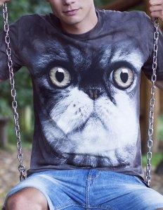 Pánské tričko se zvířecím potiskem (the mountain) Furry cat