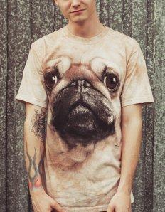 Pánské tričko se zvířecím potiskem (the mountain) Pug