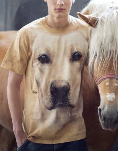 Pánské tričko se zvířecím potiskem (the mountain) Yellow Labrador