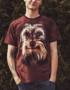 Pánské tričko se zvířecím potiskem (the mountain) Yorkshire Terrier