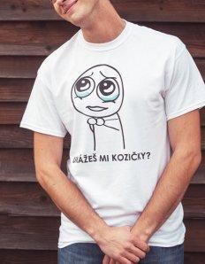 Pánské tričko s potiskem MEME - Ukážeš mi kozičky?