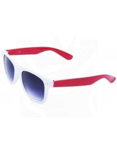 Sluneční brýle Wayfarer – bílé s červenými nožičkami
