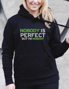 Dámská mikina s potiskem Nobody is perfect