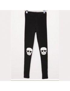Dámské legíny s potiskem Skull Knee – black