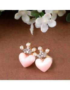 Originální vtipné náušnice Heart with crown