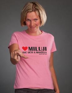 Dámské tričko s potiskem Miluji děti