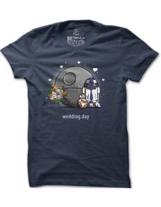 Pánské tričko s potiskem Droid wedding day