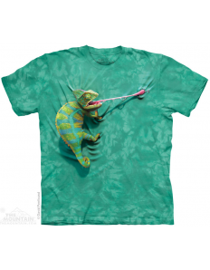 Dámské tričko se zvířecím potiskem Climbing chameleon