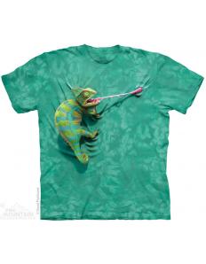 Pánské tričko se zvířecím potiskem Climbing chameleon