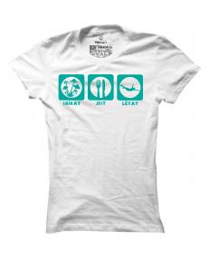 Dámské tričko s potiskem Sbírat, jíst, létat