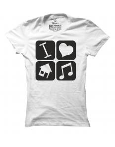 Dámské tričko s potiskem I love house music