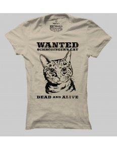 Dámské tričko s potiskem Schrödingerova kočka