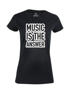 Dámské tričko s potiskem Music is the answer