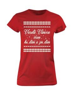 Dámské tričko s potiskem Veselé Vánoce všem